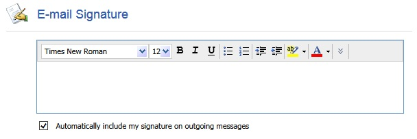 Webmail Signature Screenshot